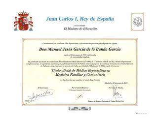 Título Especialista en Medicina Familiar y Comunitaria