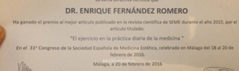 Premio ganador,mejor articulo cientifico SEME 2015