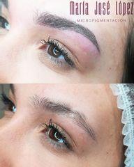 Antes y después Micropigmentación de Cejas con camuflaje de cicatriz
