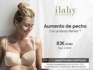 Aumento de pecho con prótesis Mentor · 83€/mes