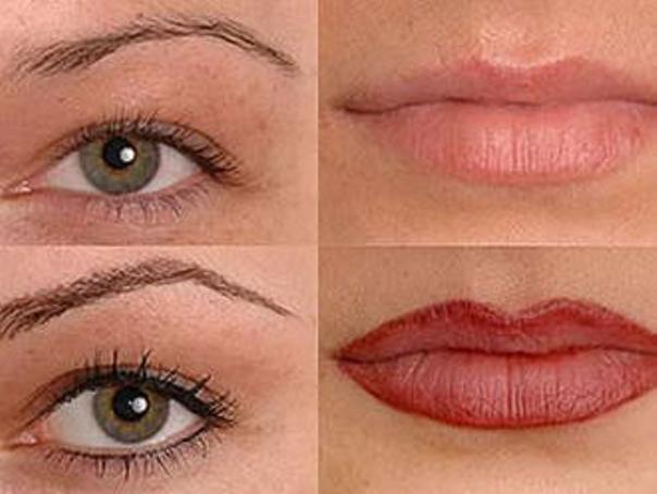 Antes y después en cejas y labios de una micropigmentación